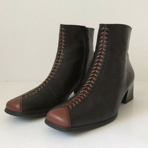 GABOR Ankle Boots Black Brown Leather Sz 8 - 8.5